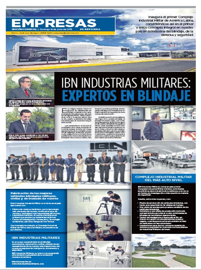IBN Industrias Militares en Primera Plana de El REFORMA, 14 DE JUNIO 2015