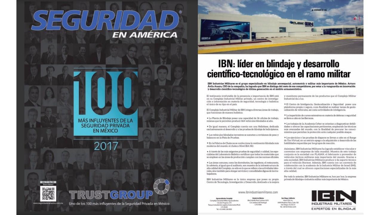 """NOTA A IBN INDUSTRIAS MILITARES """"LIDER EN BLINDAJE Y DESARROLLO CIENTÍFICO-TECNOLÓGICO EN EL RAMO MILITAR"""" POR LIDERES ENERO 2017"""